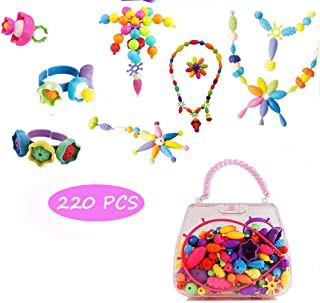 Edycur Pop Beads DIY Jewelry Making Kit, Art Crafts Toys for 3, 4, 5, 6, 7,8 Year Old Kids Girls,Hair Clasp,Necklace, Bracelet and Ring,Best Toys Gift for Kids