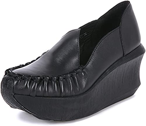 mujer High Heel zapatos Platform Wedges Pumps Genuine Leather Handmade Vintage