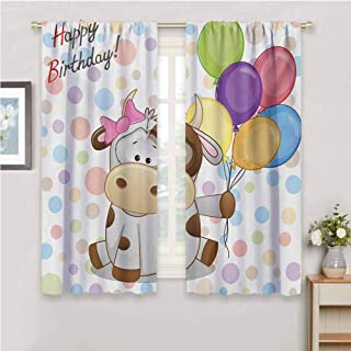 DIMICA Room Darkened CurtainKids Birthday Baby Cow Animal and Colorful Balloons on Abstract Polka Dot Backdrop Print Waterproof Fabric W84 x L84 Inch Multicolor