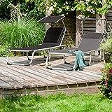 Park Alley Sonnenliege mit Sonnendach, Gartenliege klappbar, schwarz - 6