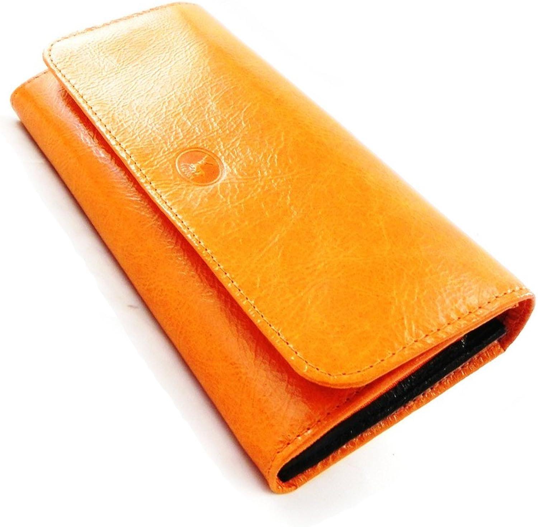 [On SALE   SOLDES  ]   Large leather wallet  Frandi  orange black lacquer.