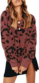 Ybenlow Womens Fuzzy Oversized Sweaters Leopard Long Sleeve Crewneck Pullover Knit Slouchy Jumper Tops