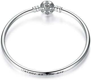 Genuine 925 Sterling Silver Sparkling Snowflake Clasp Bracelet Engraved Unique As You Are