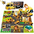 DOLIVE Construction Die-cast Car Toys Kids Alloy Metal Vehicles Play Mat Set,Excavator Cement Dump Truck Tractor Helicopter,Carrier Truck with Sounds n Lights, Gift Pack for 3 4 5 Year Old Boys Girls by DOLIVE