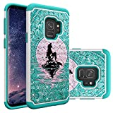 Samsung Galaxy S9 Case, Mermaid with Moon Pattern Heavy Duty Shockproof Studded Rhinestone Crystal Bling Hybrid Case Silicone Protective Armor for Samsung Galaxy S9 2018