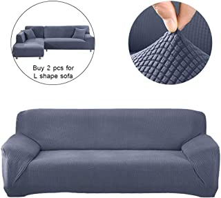 Hengwei Sectional Sofa Cover Stretch Couch Slipcover 1 Pcs DIY (Buy 2/3 for L / U Shape Sofa)-Soft Polyester Fabric Form Fit Furniture Protector for Kids Pets Home Gift(Grey, A-3 Seat 74-90in)