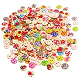 BETOY 200 pcs Bottoni in legno dipinto Colorati -Assortiti Bottoni Decorativi 2 Fori - Perfetti...