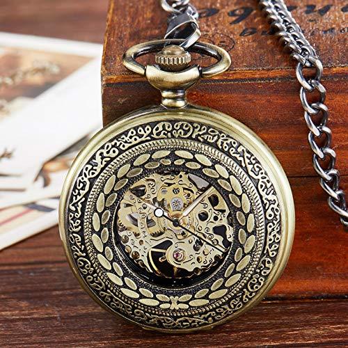 Reloj de Bolsillo, Reloj de Bolsillo mecánico Hueco Retro Steampunk Pulsera de Cuerda Manual Colgantes para Hombres y Mujeres bronzewithbox