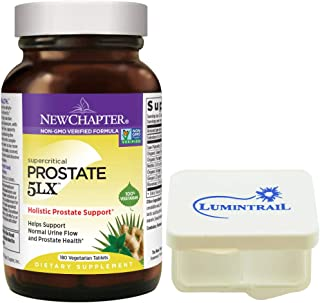 New Chapter Prostate 5LX Supplement for Men with Saw Palmetto - 180 Vegetarian Capsules Bundle with a Lumintrail Pill Case