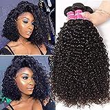 BLISSHAIR pelo humano rizado natural pelo humano brasileño cabello virgen brasileño extensiones de cabello color negro natural total 16 18 20 pulgadas