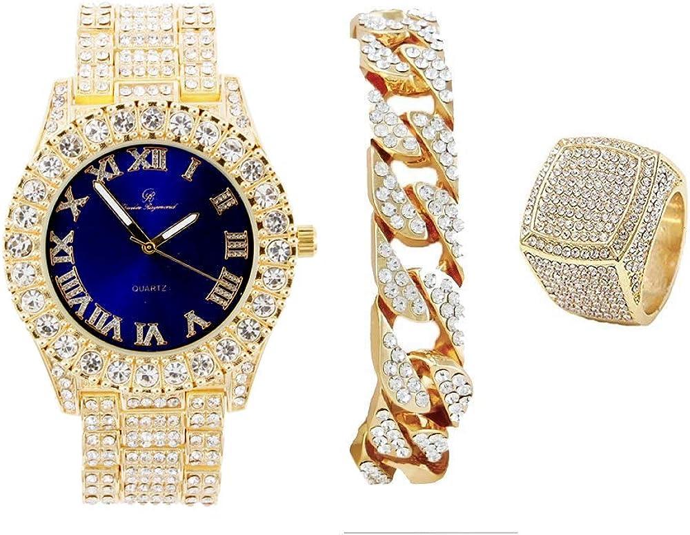 Mens Gold Big 安値 Rocks Bezel Royal-Blue with Numerals Dial Fu Roman 人気ブランド