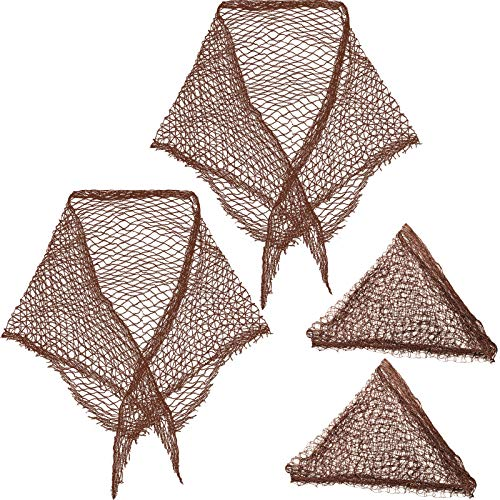 4 Pieces Cotton Triangle Hair Net for Rollers, Women Hair Net Mesh Hair Net...