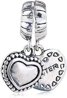 Sister Charm 925 Sterling silver Heart Charm Love Charm Dangle Charm for Pandora Bracelet