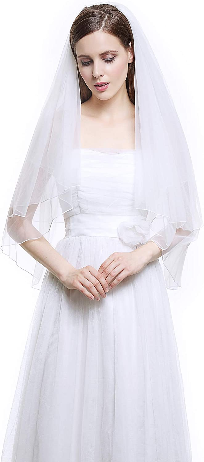 Wedding Bridal Veil with Comb 2 Tier Cut Edge Elbow Fingertip Length Ivory White