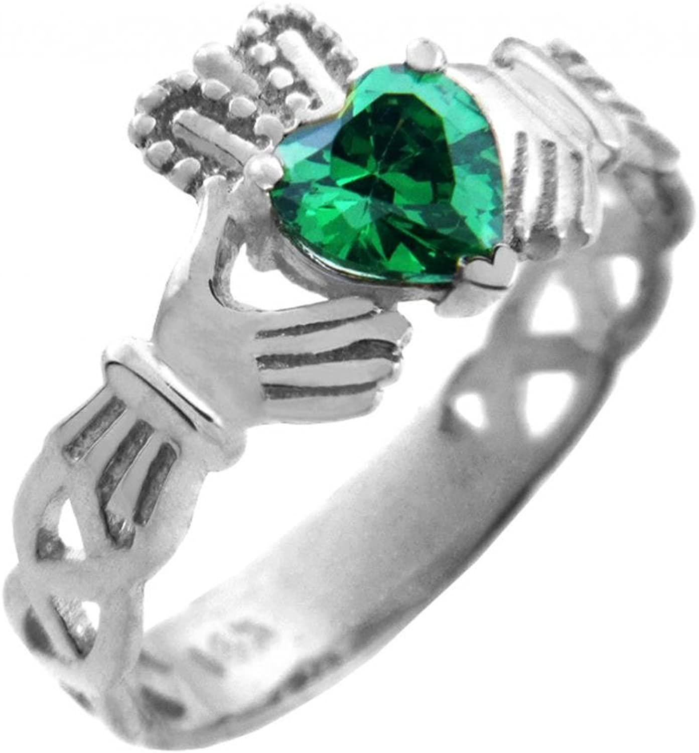 10k White gold Solitaire Green CZ Celtic Knot Claddagh Ring