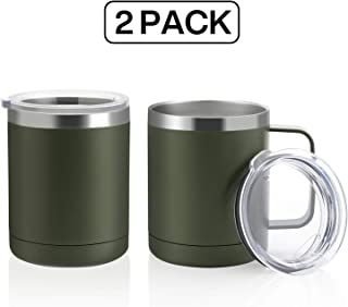 ONEB 12oz/2Pack Tumbler Stainless Steel Coffee Mug with Handle - Double Wall Vacuum Cup wth Lid for Hot & Cold Drinks (Army Green, 12oz-2 Pack)