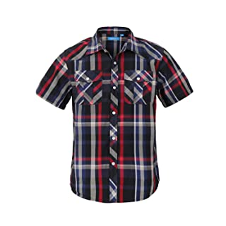 Boy's Toddler Kids Casual Short Sleeve Western Pearl Snap Button Plaid Shirt 4-16 Years