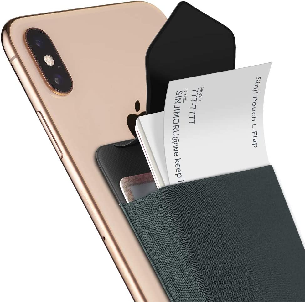 Sinjimoru Business Card Holder for Back of Phone, Reusable iPhone Stick on Wallet, Credit Card Holder for Smartphone. Sinji Pouch L-Flap, Grey