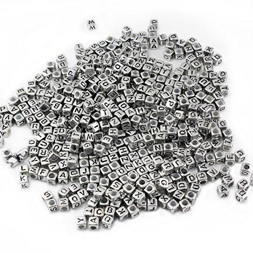ESUMIC Mezclado 500PCS 6mm Granos de acrílico de la Letra de plástico Granos del Espaciador del Alfabeto Colorido Cubo para Las Pulseras DIY Collares Cadenas (Plata)