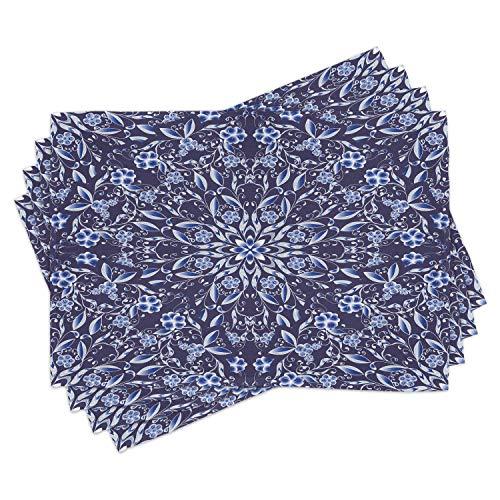 ABAKUHAUS Blu Scuro Tovaglietta Americana Set di 4, Stile Floreale Cinese, Tovagliette in Tessuto Lavabile per Tavolo da Pranzo Cena, Royal Blue Blu Scuro