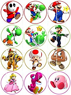 SUPER MARIO: Edible image cupcake toppers birthday premium frosting sheets