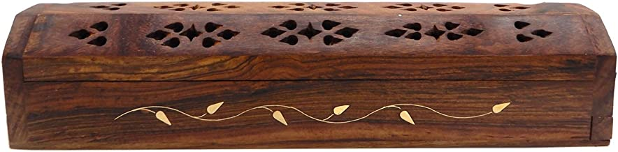 WhopperIndia Wooden Coffin Incense Burner Storage Compartment Incense Holder with Hand Carved Flower & Brass Inlay Design 11 Inch