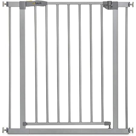 Hauck Cancelletto di Sicurezza per Bambini Stop N Safe 2 / per Aperture da 75 a 80 cm / a Pressione / Porte e Scale Interne / Estensibile con Estensioni Vendute Separatamente / Metallo Grigio
