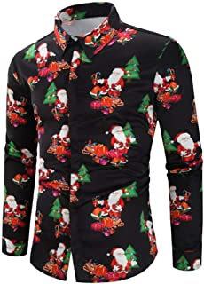 Men Casual Snowflakes Santa Candy Printed Christmas Slim Fit Shirt Tops