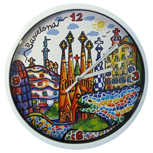 Nadal Uhr Denkmäler Barcelona, Mehrfarbig, 20x 20x 3,45cm Medium