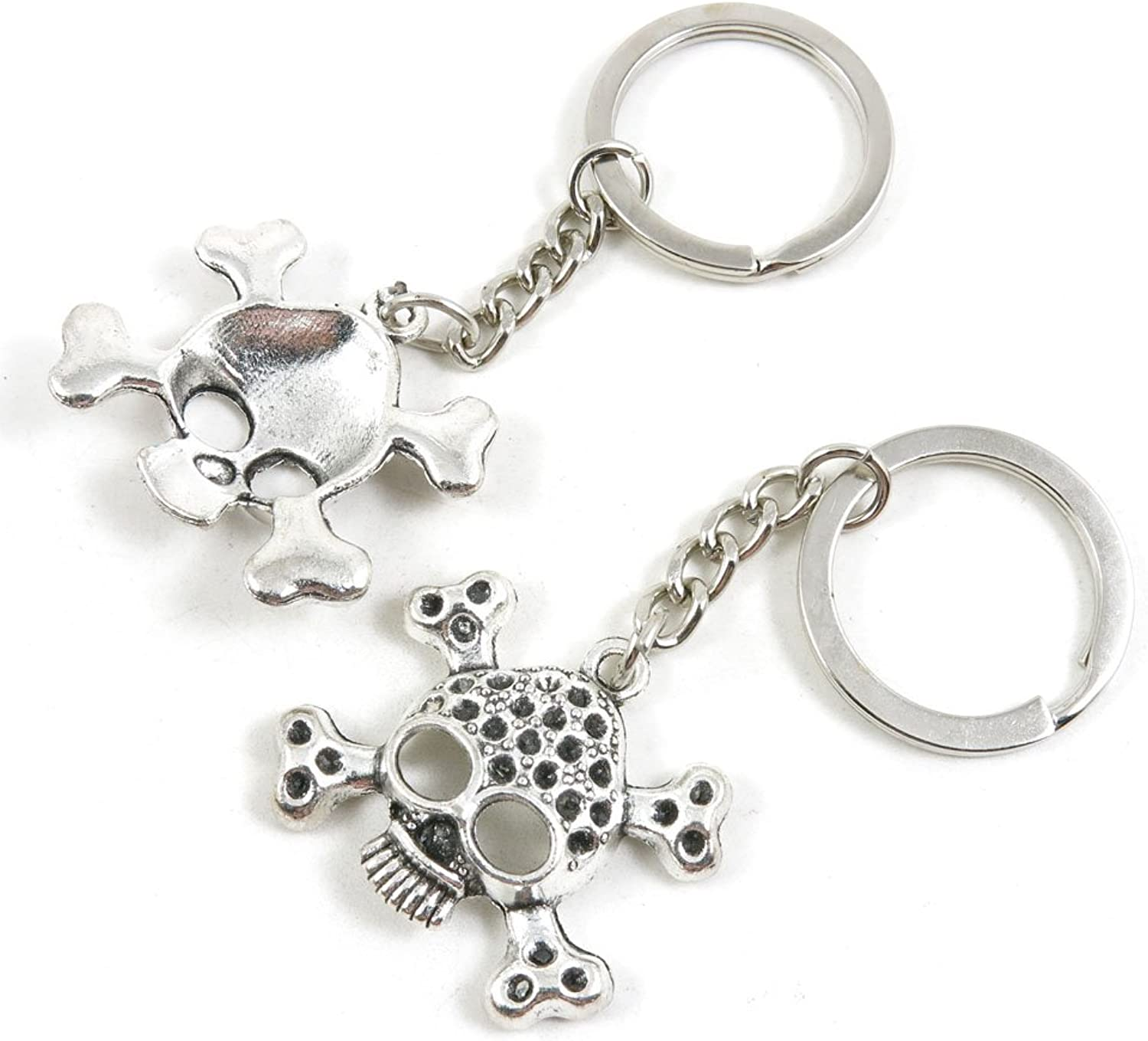 100 Pieces Keychain Keyring Door Car Key Chain Ring Tag Charms Bulk Supply Jewelry Making Clasp Findings V2YE5D Skull
