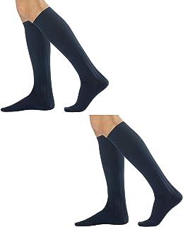 CALZITALY, – PACK 2 PARES Ejecutivos Canalé de Hombre | Calcetines de Algodón Cálido | Negro, Azul Marino, Gris, Marrón | 39/42, 43/46 | Made in Italy