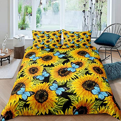 richhome Sunflower Bedding Set Girls Adult Super King Beauty Rose Flower Comforter Cover for Boys Girls Oil Painting Butterfly Quilt Cover Bedding Set