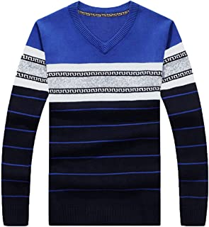 FASHINTY Men's V Neck Cotton Knitted Sweater