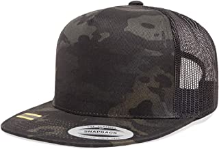 Yupoong 6006 Flatbill Trucker Mesh Snapback Hat with NoSweat Hat Liner