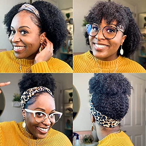 FZYhair Bandeau Perruque Bresilienne Bouclée 12 Pouces Perruque Headband Afro Femme Naturelle Perruque Cheveux Humain Afro Curly Human Hair Wig Perruques pour les Femmes Noires Naturelle Color