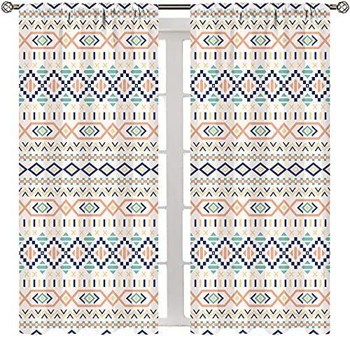 MRFSY Exclusive Home Cortinas geométricas tribales cultura primitiva nativa americana viejo diseño líneas y cuadrados multicolor aislamiento térmico cortina impresa ancho 72 x largo 63 pulgadas