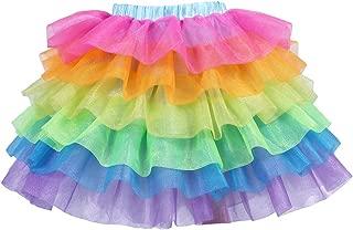 Tao-Ge Rainbow Tulle Skirts for Girls Unicorn Tutu Skirts for Halloween,Party