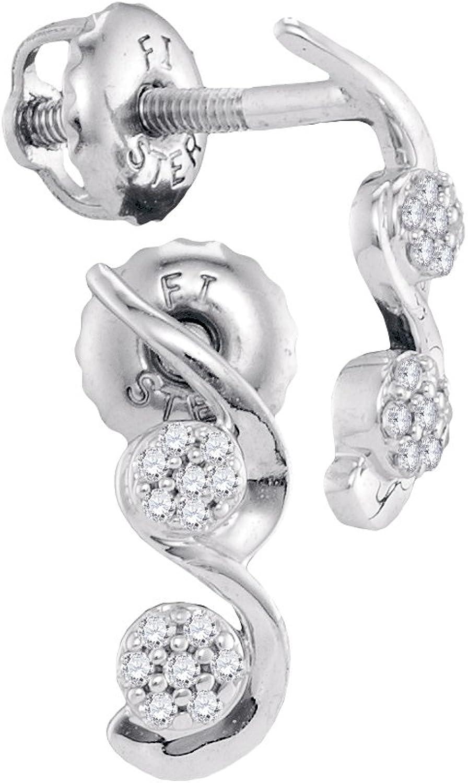 10kt White gold Womens Round Diamond Cradled Cluster Screwback Earrings 1 12 Cttw