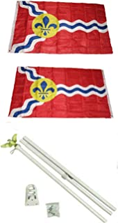 ALBATROS 3 ft x 5 ft City of St Louis Missouri 2ply Flag White with Pole Kit Set for Home and Parades, Official Party, All Weather Indoors Outdoors