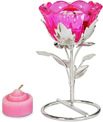 13920 Romantic Red Rose Cup Iron Votive Candle Holder