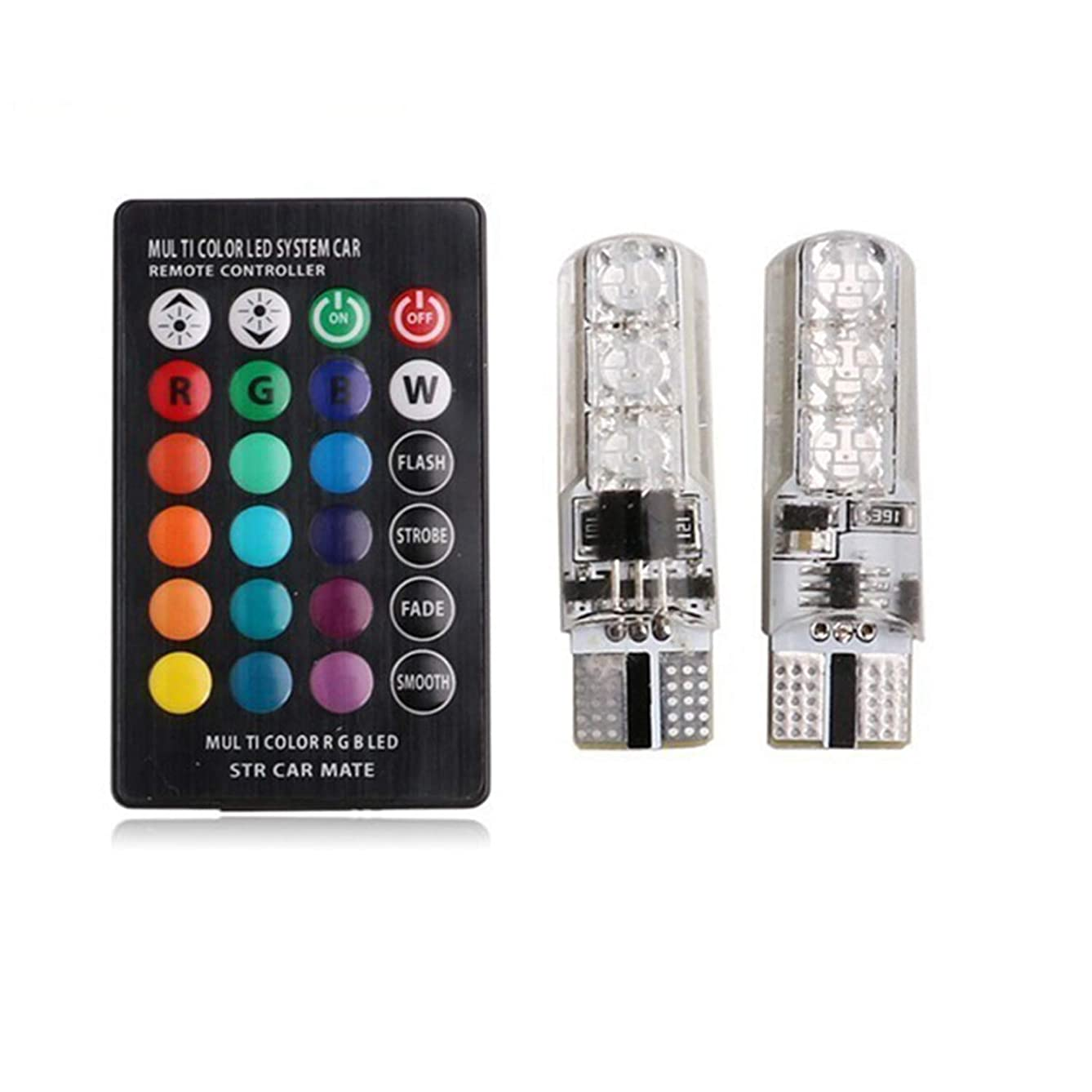 Car Led Wide Lights Remote Control Car Interior RGB LED Car Dome Reading Light T10 6SMD 5050 Super Bright Lamp Bulb Universal Auto Interior Lamps
