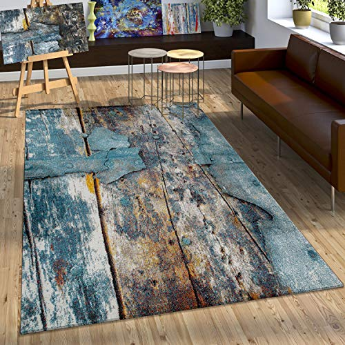 Paco Home Designer Teppich Bunte Holz Optik Hoch Tief Optik In Türkis Gelb Blau Meliert, Grösse:80x150 cm
