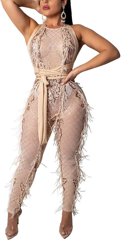 Nhicdns Women's Black Sexy Long Sleeve Sequin Pearl See Through Sheer Mesh Bodycon Jumpsuits Long Romeper Pants Club Wear