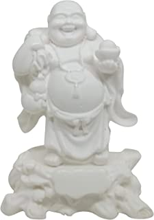 Feng Shui Laughing Buddha Statue for Good Luck Wealth, Money and Happiness Holding a Bowl in White Color Handicrafts Made from Marble Powder in India 12 cm  4.7