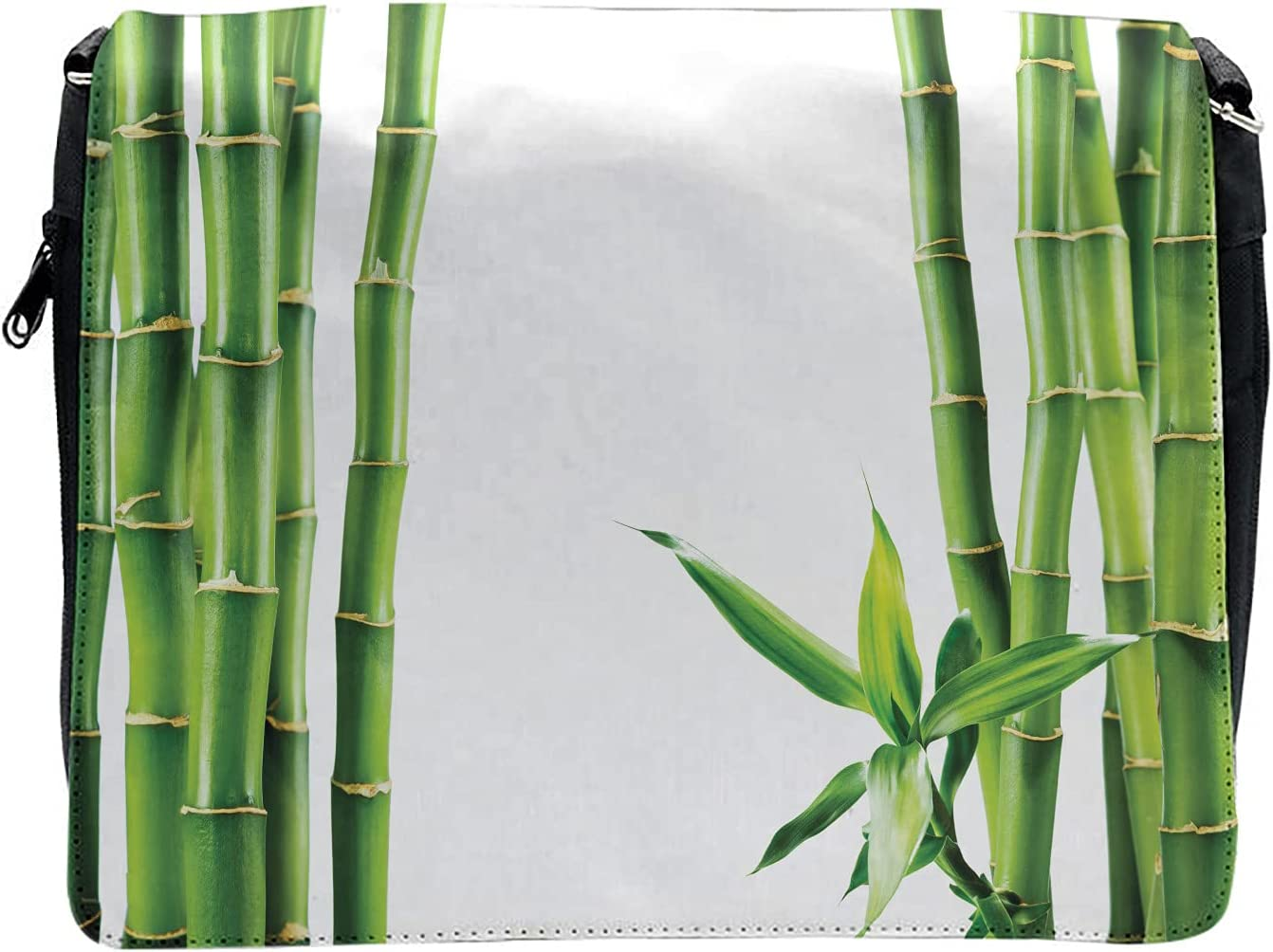 Ambesonne Nature Cross Body Messenger Bag, Branches of Bamboo Plant, Unisex