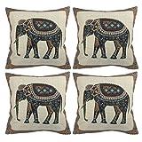 Luxbon 4 Stück Jacquard indischer Elefant Baumwolle dauerhaft Leinen Kissenbezug Wurfkissen Platz...