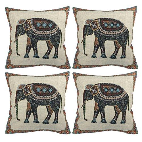 Luxbon 4 Stück Jacquard indischer Elefant Baumwolle dauerhaft Leinen Kissenbezug Wurfkissen Platz Akzente Setzen Pillowcase Cafe Haus Deko 18 x 18 ''