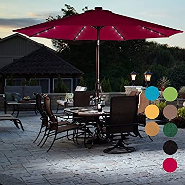 Sundale Outdoor Solar Powered 32 LED Lighted Patio Umbrella Table Market Umbrella with Crank and Push Button Tilt for Garden, Deck, Backyard, Pool, 8 Steel Ribs, 9 Feet, Red