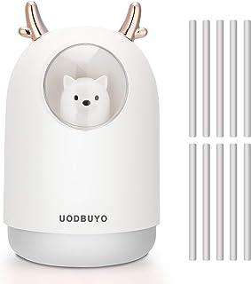 UODBUYO Portable Cool Mist Humidifier - 300ml USB Mini Air Humidifier with 10 Pcs Humidifier Sticks, 7 Color Night Light R...