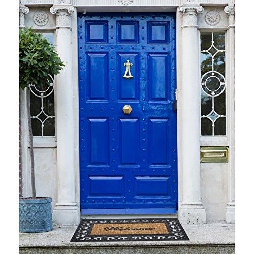 "Achim Home Furnishings WRM1830FL6 Fleur De Lis Wrought Iron Rubber Door Mat, 18 by 30"",Black/Brown"